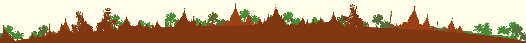 A Landscape view of Pagodas and Palm trees from Myanmar in vector art
